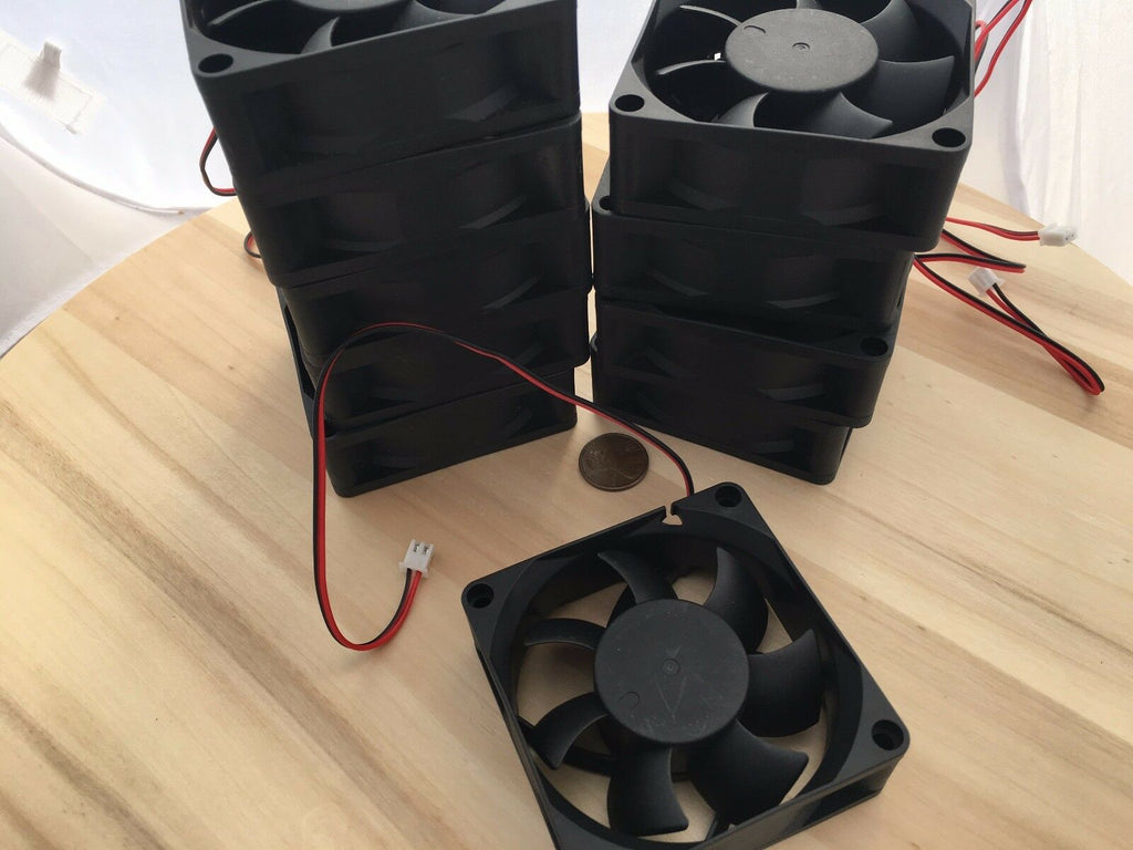 10 Pieces Gdstime 7025s 70x70x25mm 2 wires Brushless DC Cooling Fan 12V Fans C10
