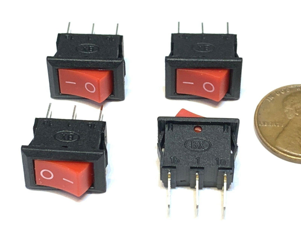 4 Pieces KCD11 Red small 14mm x 8.5mm Snap-in On/Off Rocker Switch 3 Pin 12v B28