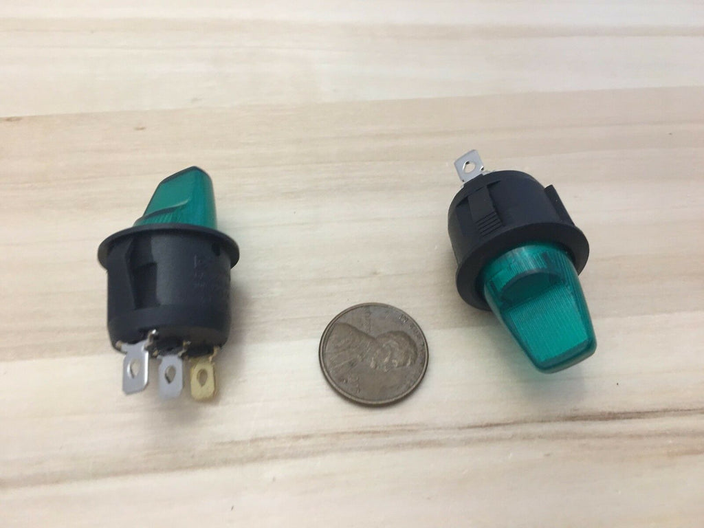 2 Pieces Green LED 10A ON OFF Toggle Switch 12v illuminated lamp 3 pin C29