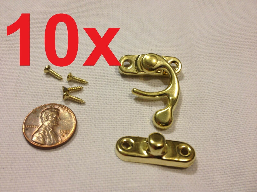 10x  GOLD (M) Latch clasp small mini doll house Antique hook Carved box lock c16