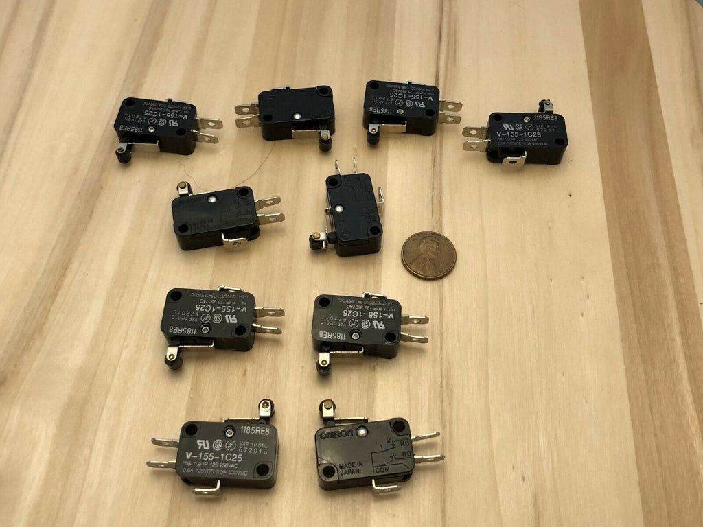 10 Pieces Black V-155-1C25 MICRO SWITCH SPDT HINGE ROLLER LEVER 15A B21 C19