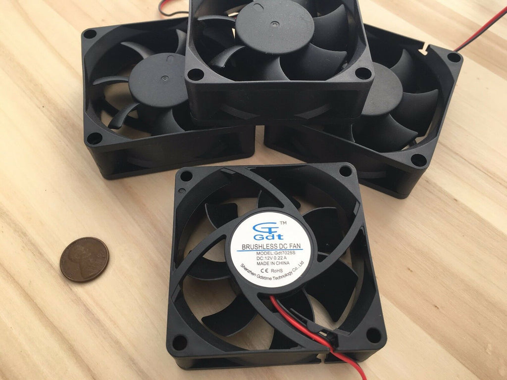 4 Pieces Gdstime 7025s 70x70x25mm 2 wires Brushless DC Cooling Fan 12V Fans C10