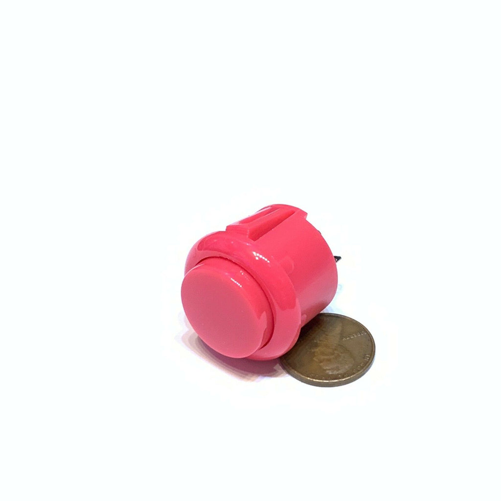 1 Piece Pink Arcade N/O Momentary 24mm push button Switch round on off 12v C26