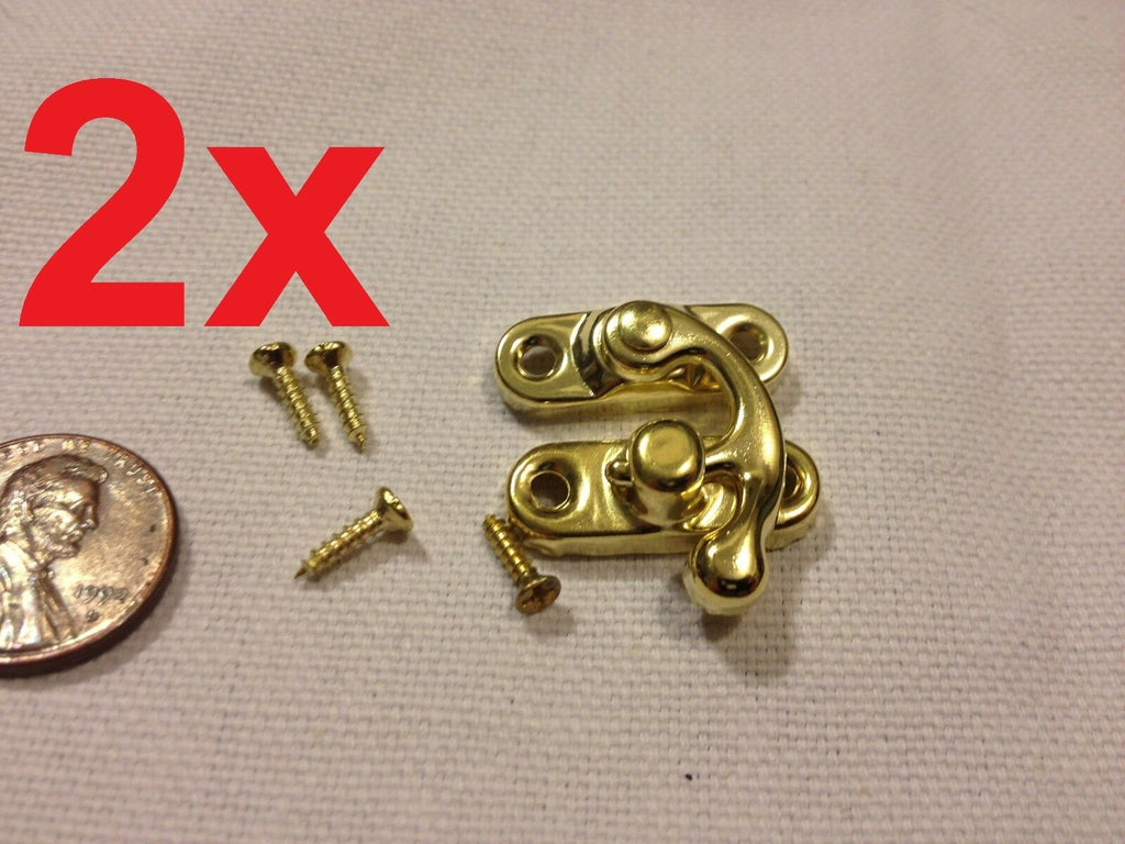 2pcs GOLD (S) Latch clasp small mini doll house Antique hook Carved box lock b21