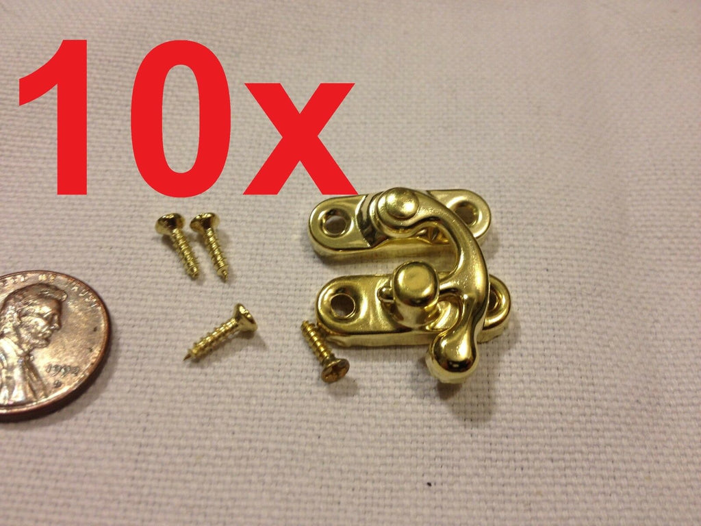 10 x GOLD (S) Latch clasp small mini doll house Antique hook Carved box lock b21