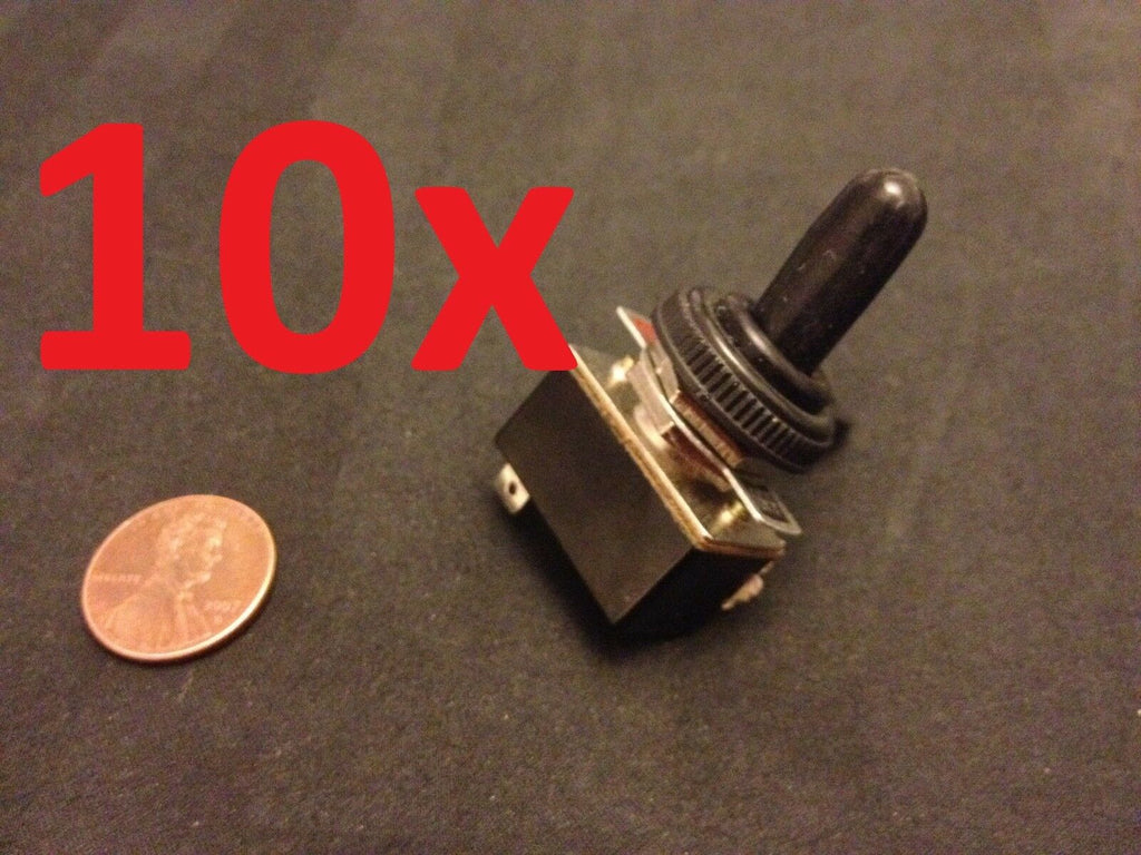 "10x waterproof boot On/Off  SPST Metal Toggle Switch AC 125v 4A dc 1/2"" hole c15"