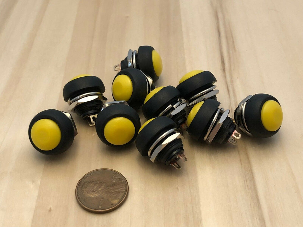10 yellow Normally open ON/Off SPST Momentary Round Push 12mm Button Switch c10