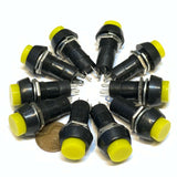 10 Pieces Yellow Latching PUSH BUTTON SWITCH DC 6A N/O normally open on/off C30