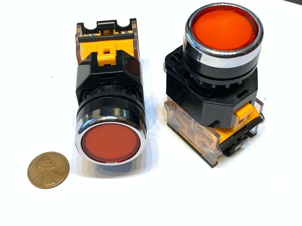 2 pieces RED momentary push button switch 22mm normally open closed no nc C25