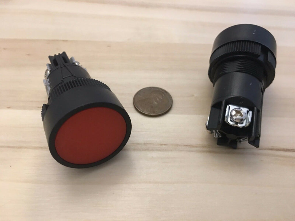 2 Pieces RED Momentary PUSH BUTTON SWITCH normally open closed 22mm on off A11