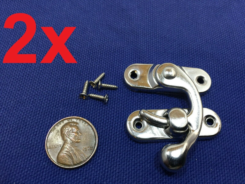 2 Sets Silver Tone Metal Hook Box Latches Clasp Box Lock Purse Lock 4 Holes c10