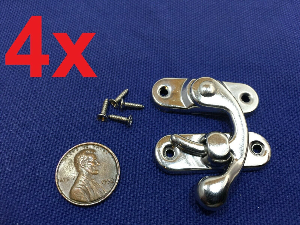 4 Sets Silver Tone Metal Hook Box Latches Clasp Box Lock Purse Lock 4 Holes c10