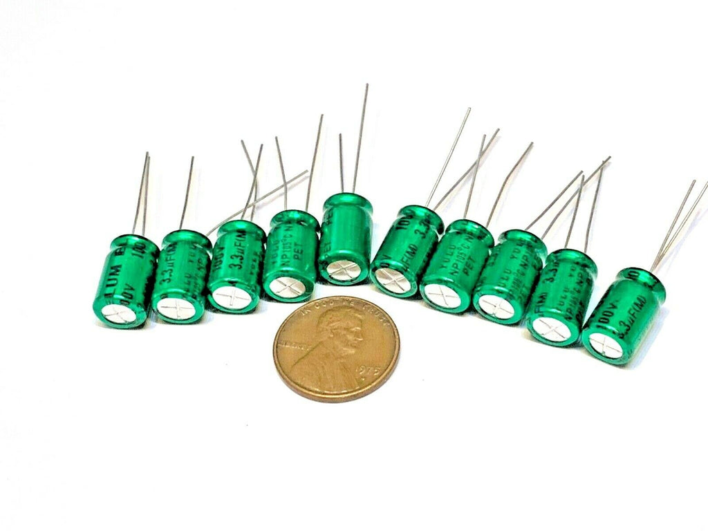 10 pieces 3.3uF 100V NP 100V3.3uF Bipolar Aluminum Electrolytic Capacitor A17