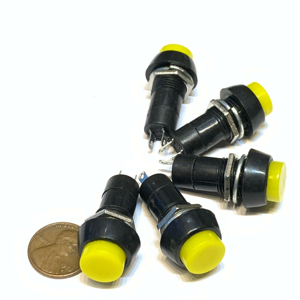 5 Pieces Yellow Latching PUSH BUTTON SWITCH DC 6A N/O normally open on/off C30