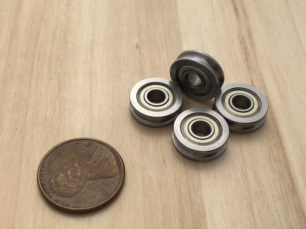 4 Pieces U groove Guide Wheel Miniature 3d printer Sealed Metal Ball Bearing C3