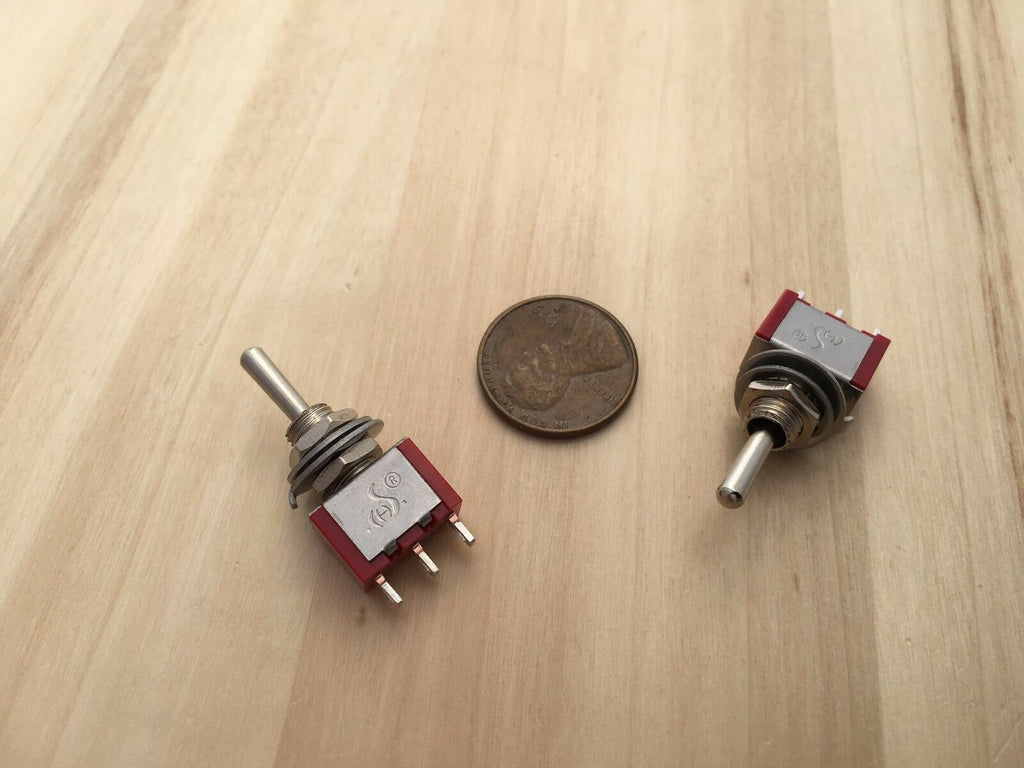 2 Pieces SPDT RED 3 Pins 12v Momentary 6mm Toggle Switch 5a 125v C35
