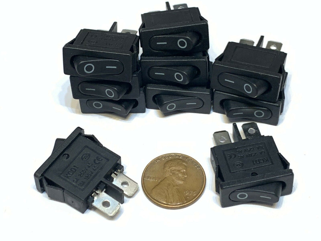10 Piece Black slim Rocker Switch SPST 10a 12v KCD1-110 3v latch On Off 2 Pin B8