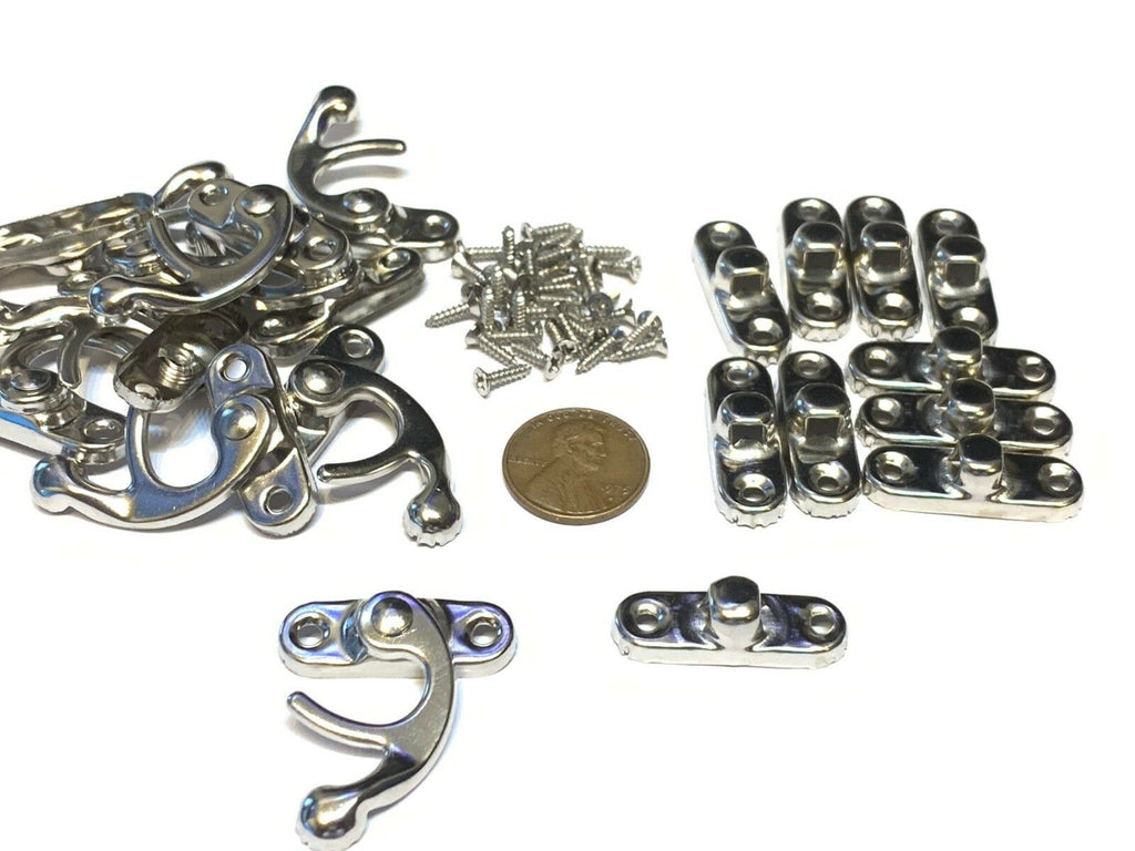 10 Sets M Silver latch hook Hinge small  Antique wood box Catch Decorative b14