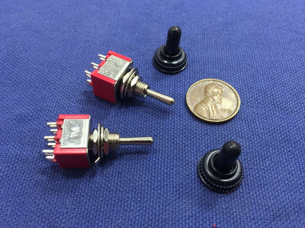 2 pieces RED Waterproof Momentary Mini Toggle Switch (ON)-OFF-(ON) 6 pin  1/4 A5