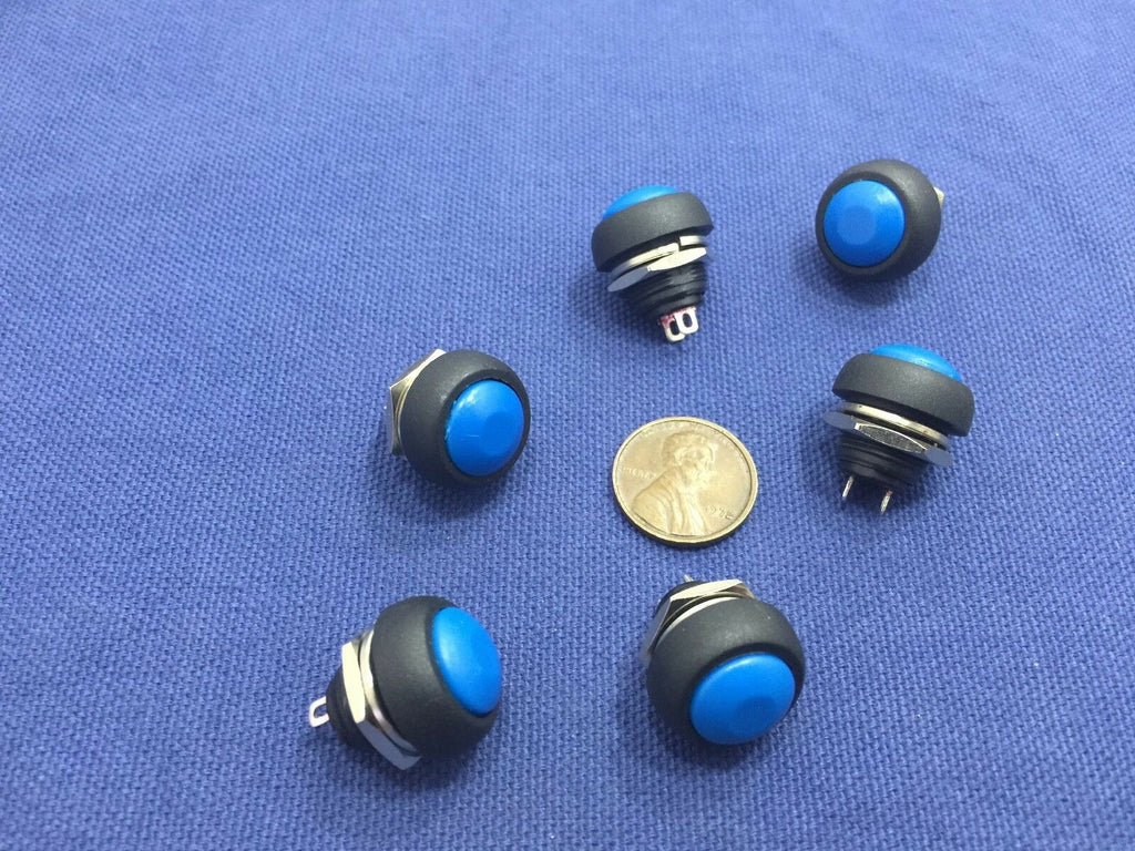6x Blue MOMENTARY N/O normally open PUSH BUTTON SWITCH DC (on) off TK0304 A7