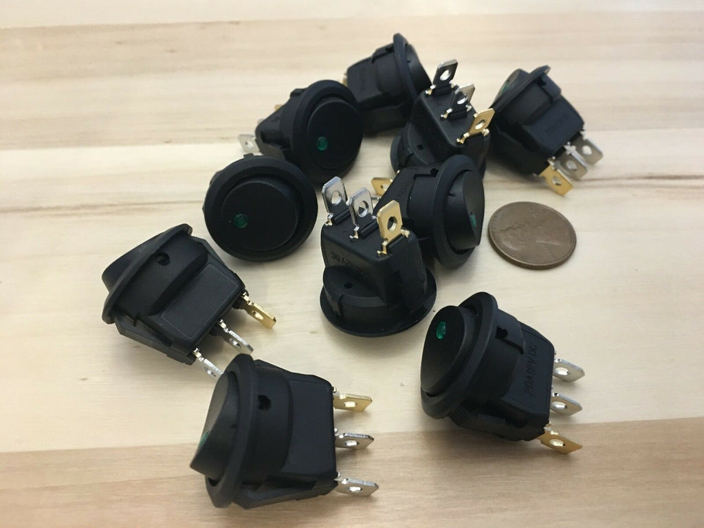 10 Pieces GREEN 12V LED Rocker switch on off 3 pin illuminated lighted boat C16