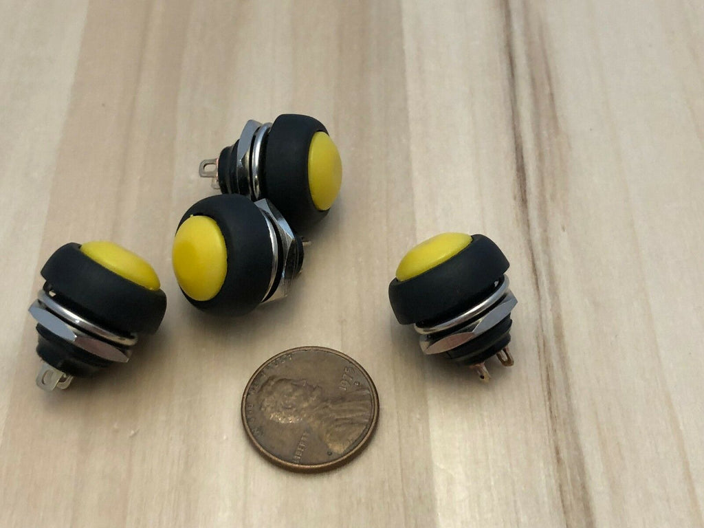 4 yellow Normally open ON/Off SPST Momentary Round Push 12mm Button Switch c10