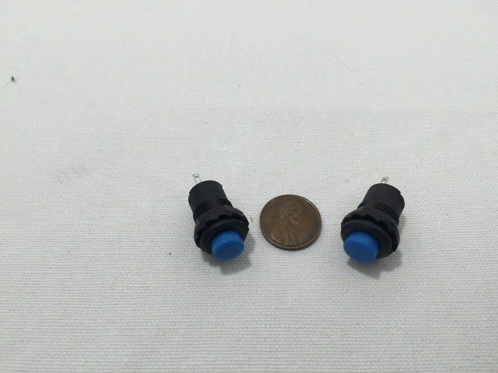 2 Piece 2pcs 2x blue 12mm Ring Momentary Push Button Switch DIY car Boat a10