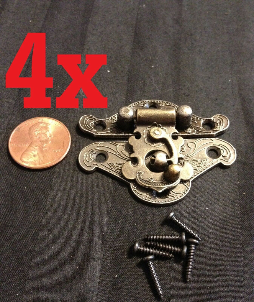 4x mini dollhouse Antique Bronze wood box latch Sets Case Lock hinge small b24