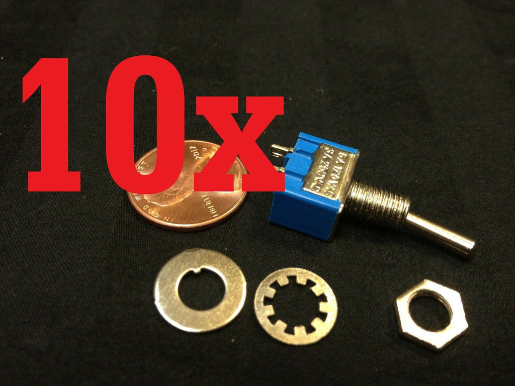10x ON-OFF Toggle Switch SPST MTS-101 6mm 1/4 sub miniature on off 10pcs  b12