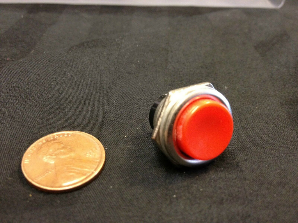 Metal MOUNTS MOMENTARY N/O normally open PUSH BUTTON SWITCH DC RED  on/off  b9