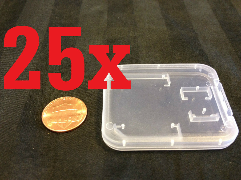 25x  Plastic transparent Clear Case Micro SD TF Card Box Protector 25pcs b11