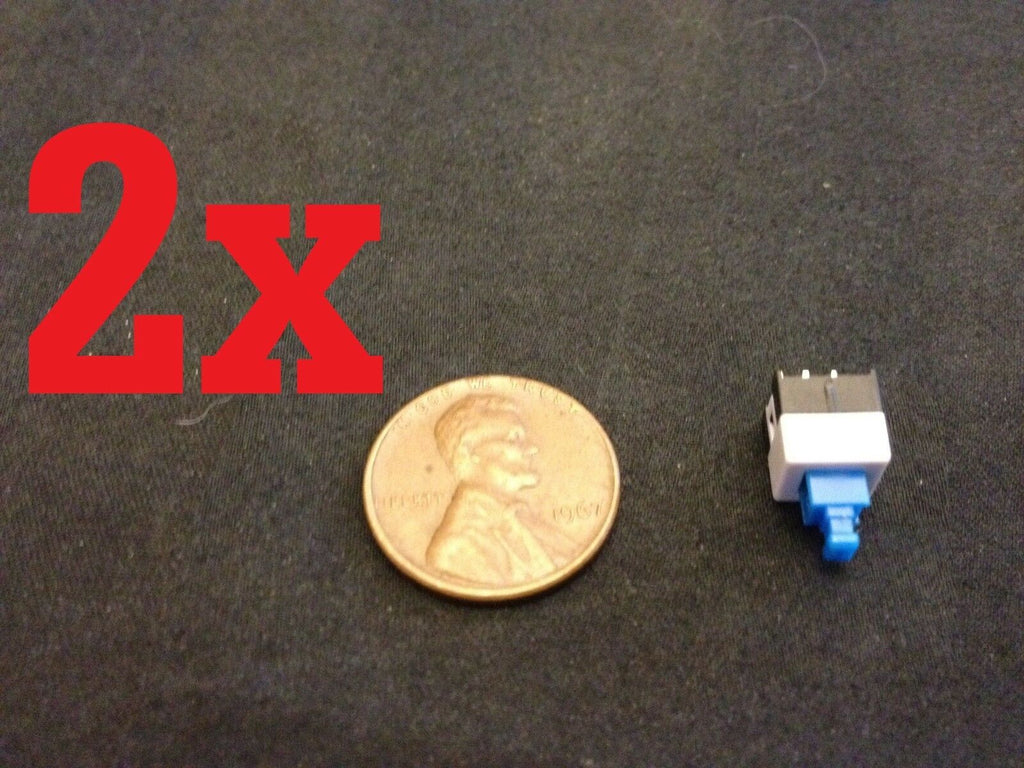 2x Push Button Latching Tactile Switch 7x7mm Blue Button 3-Pin Micro on/off b10
