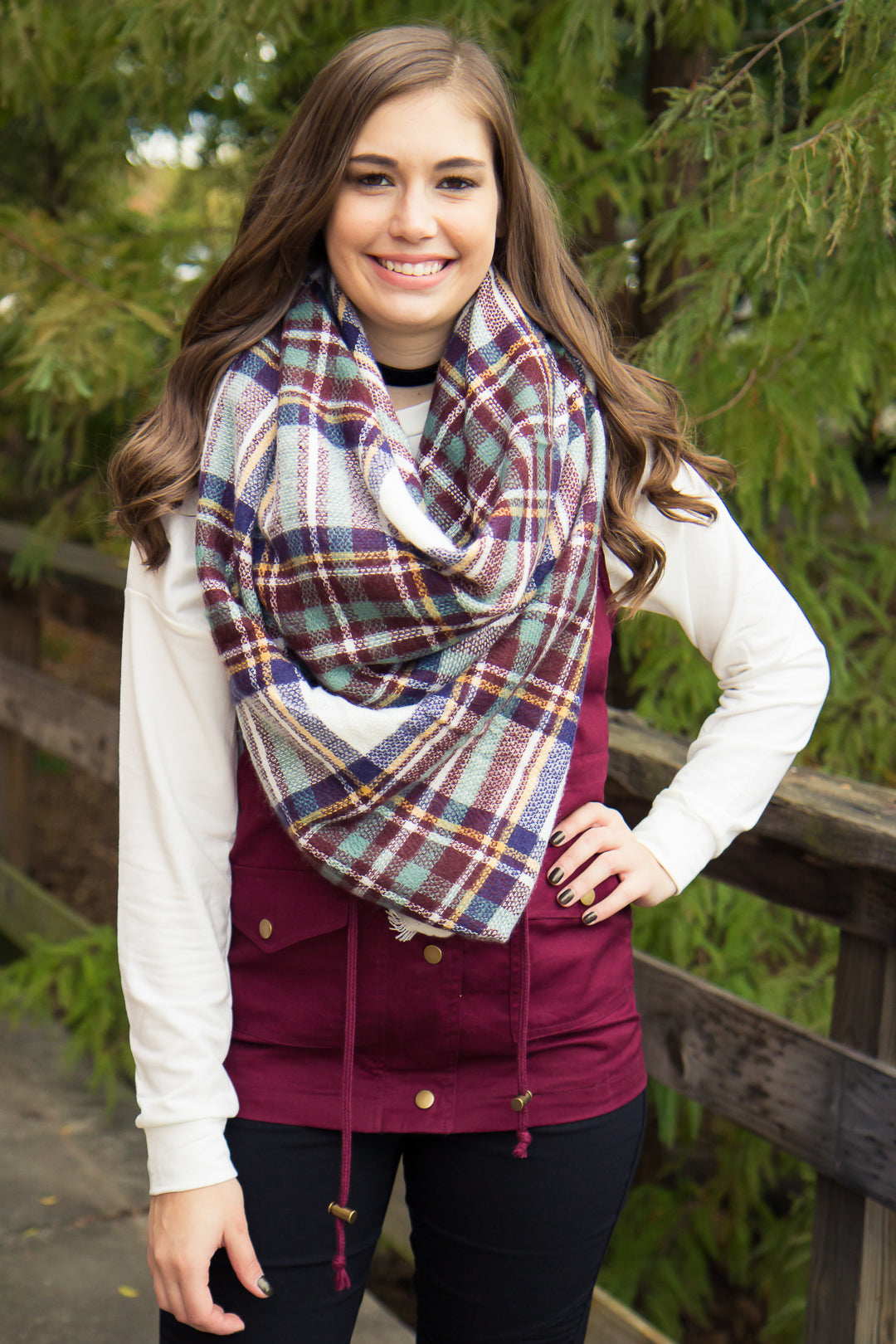 Into the Woods Vest - Burgundy - Final Sale