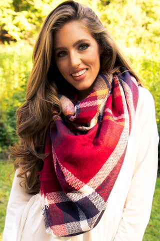 Blanket Scarf - Red & Blue