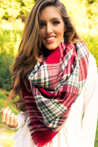 Blanket Scarf - Red & Green