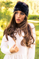 Black Bow Winter Headband