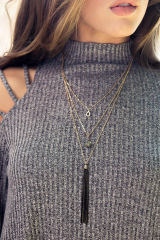 Three Tiered Black Tassel Necklace