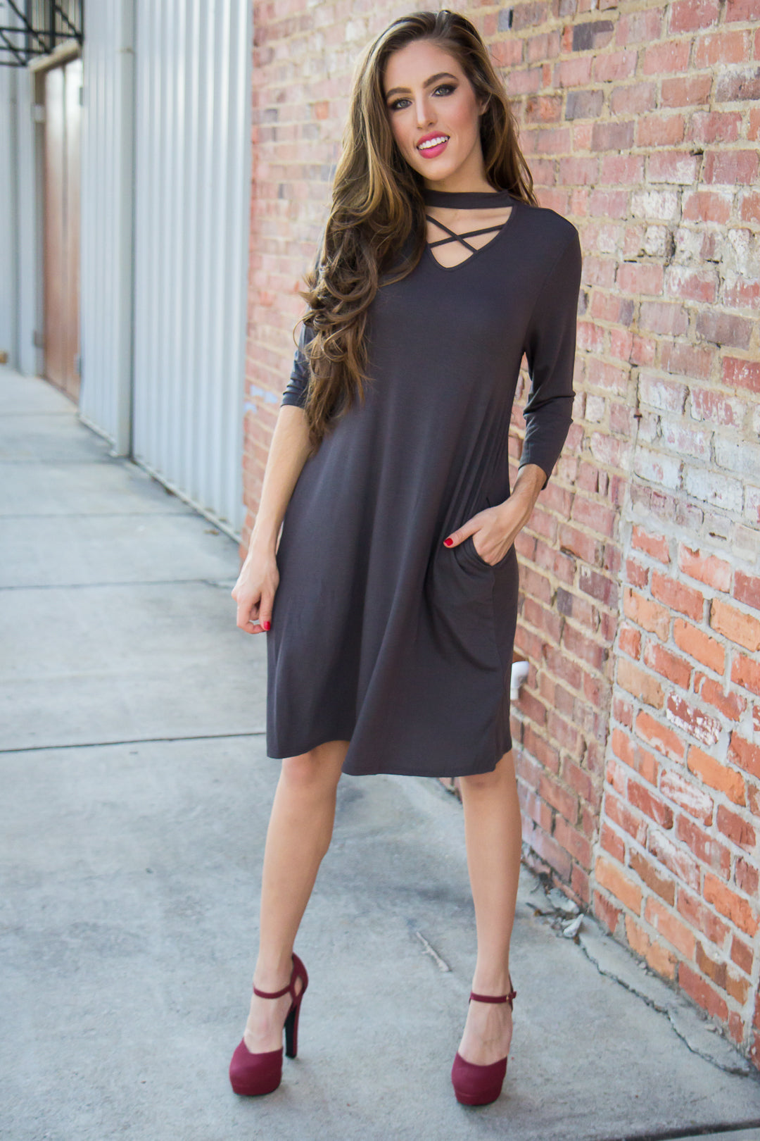 Criss Cross Dress - Gray
