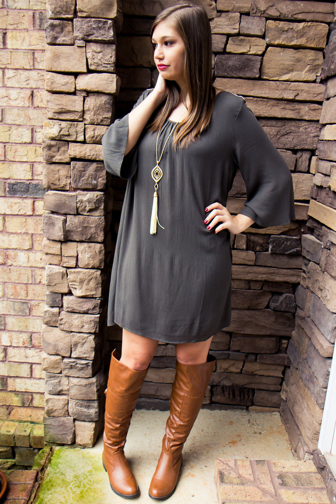 Delicate Heart Dress - Olive