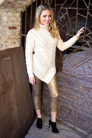Glam It Up Sequined Leggings - Gold