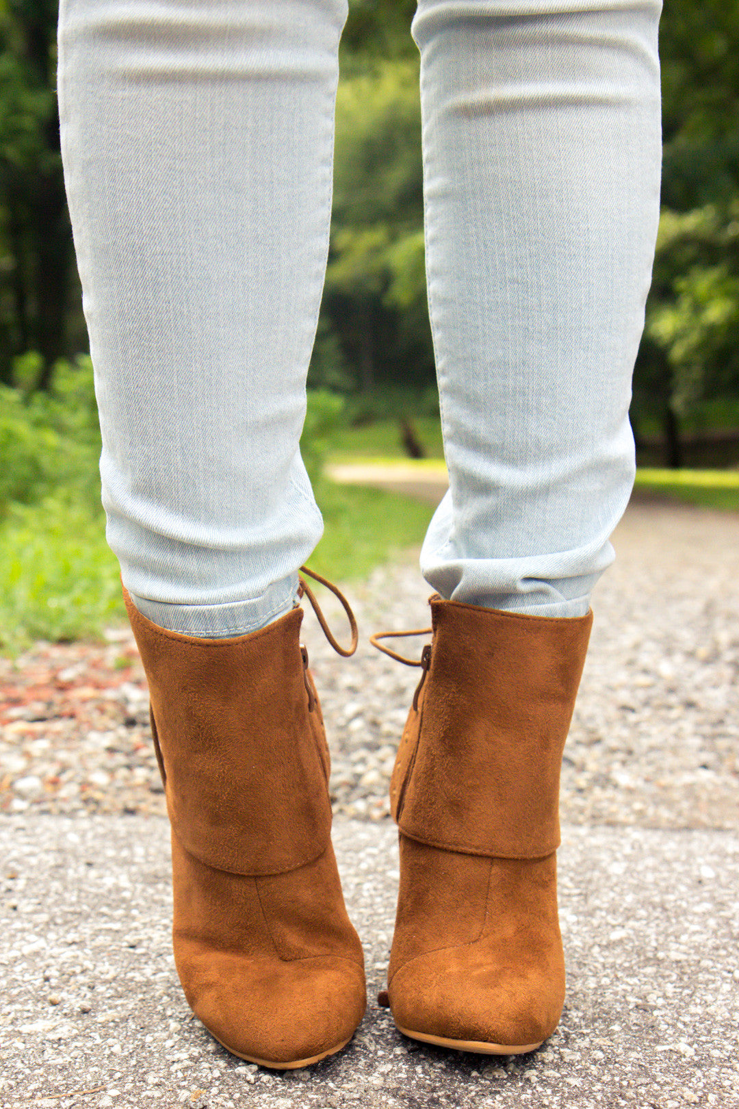 Laced Up Booties - Cognac
