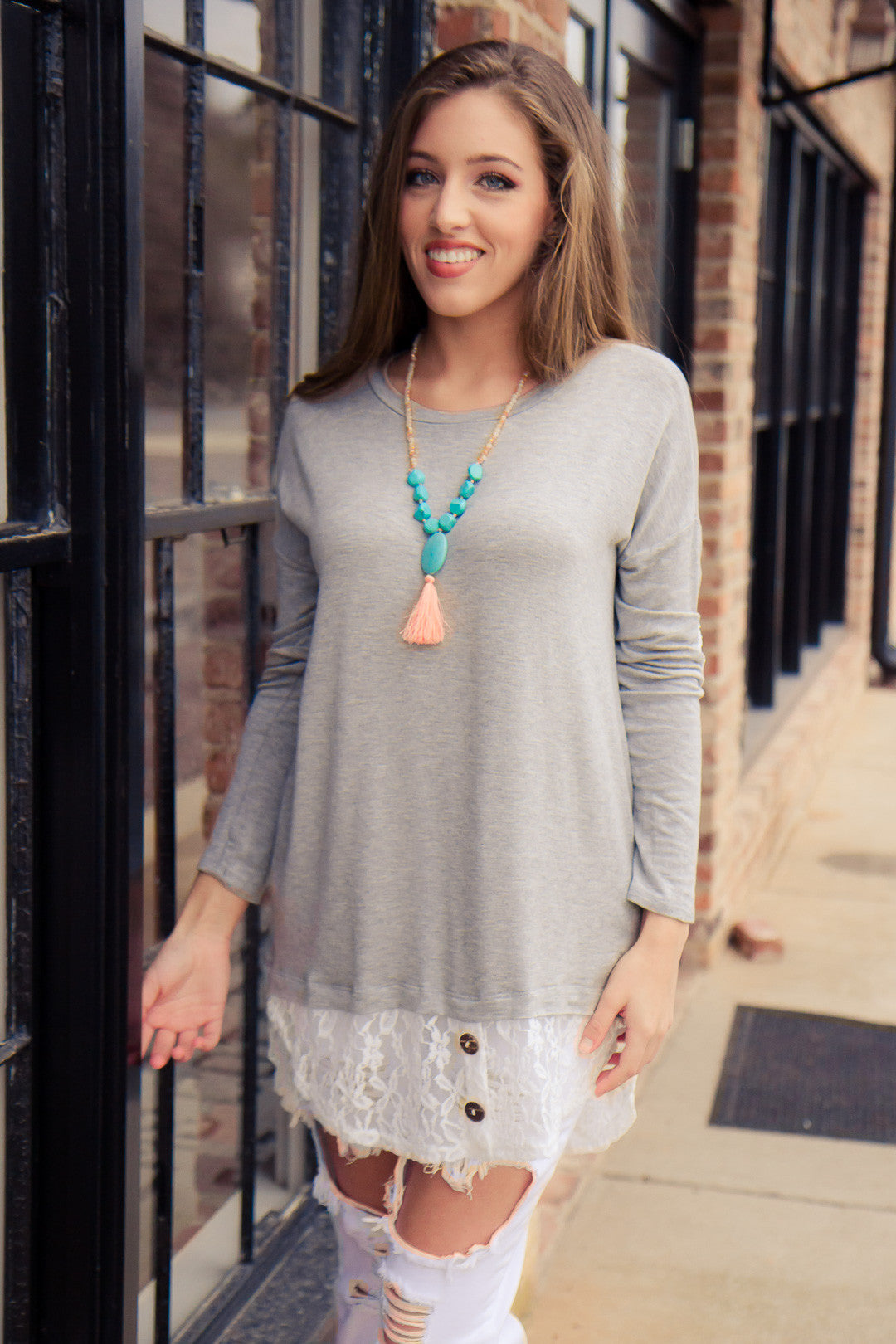 Looking Back Tunic - Gray - Final Sale