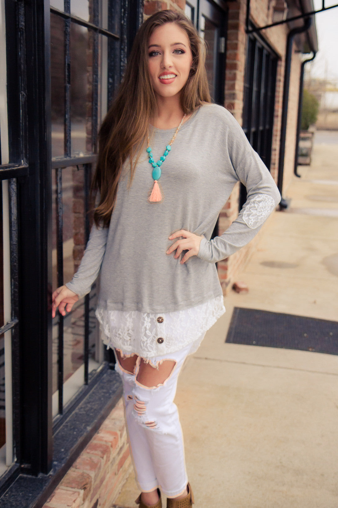 Looking Back Tunic - Gray