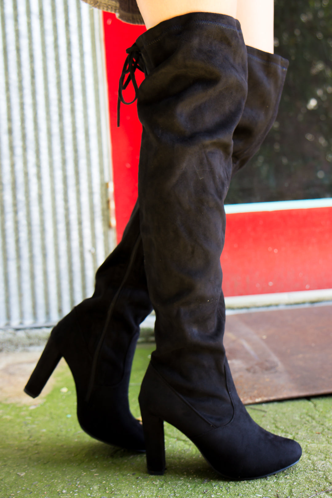 Over the Knee Heeled Boots - Black