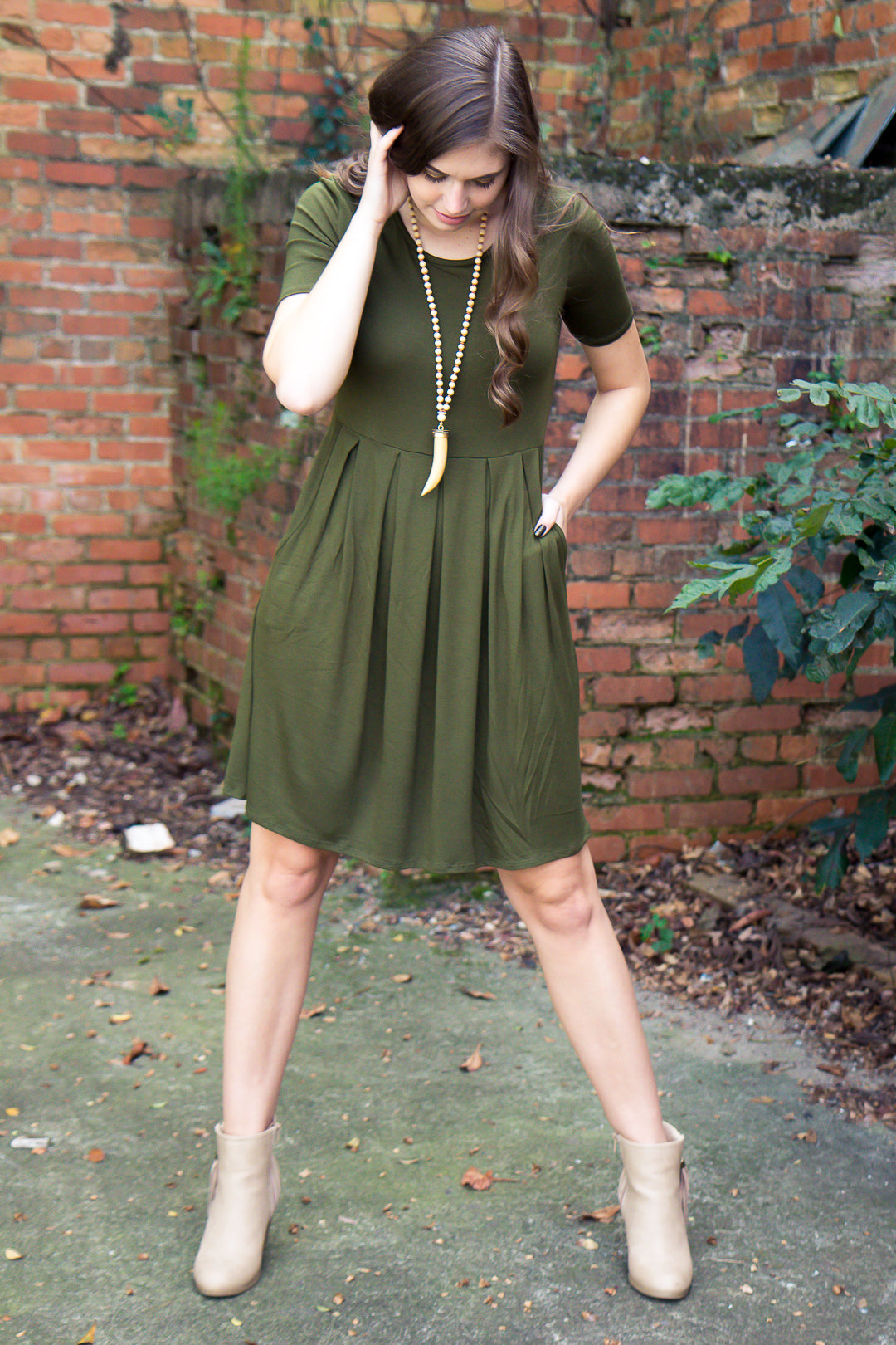 Ready For Anything Dress - Olive - Final Sale