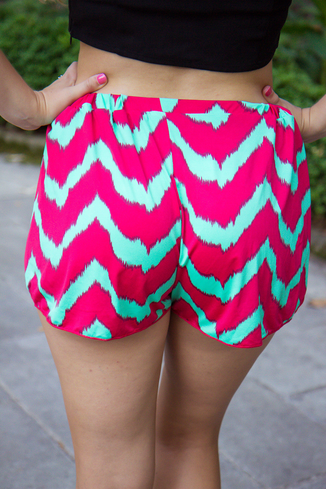 Surf's Up Shorts - Pink and Aqua Chevron - Final Sale