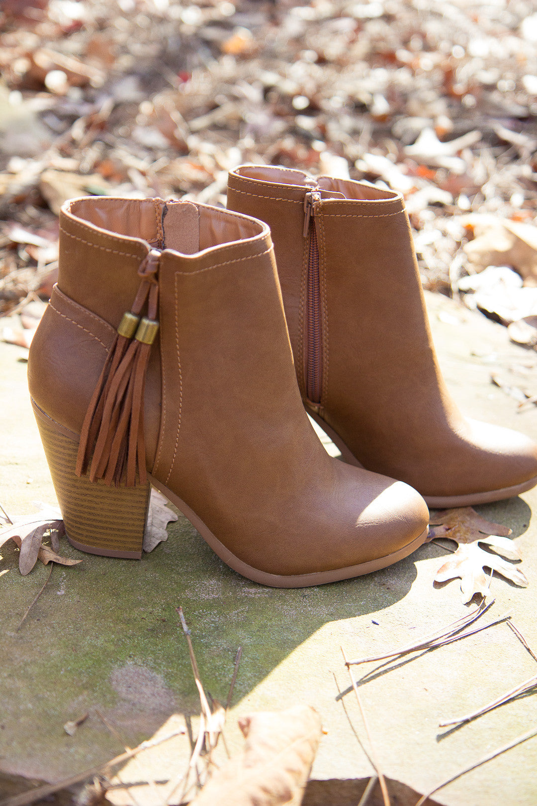 Swing In My Step Booties - Cognac
