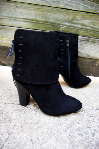 Laced Up Booties - Black