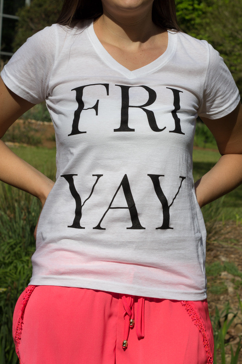 LILYASHER: Friyay Graphic V-Neck - Final Sale