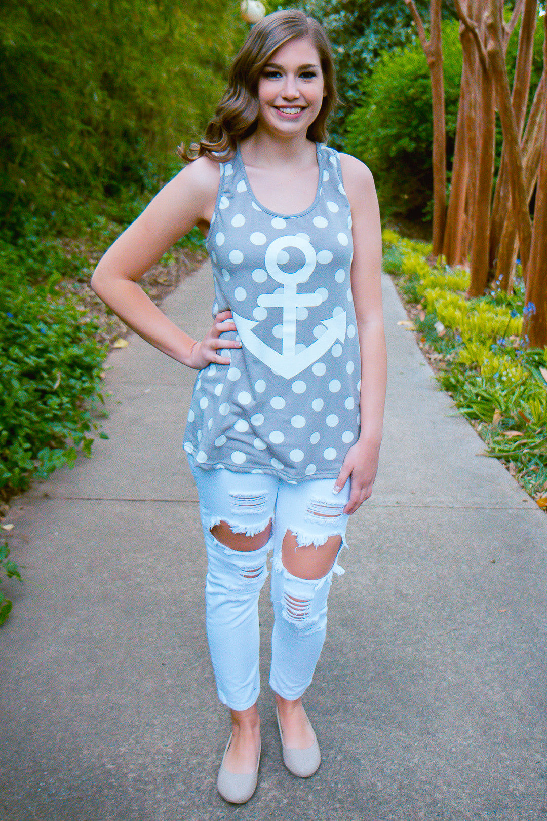 Go Overboard Tank - Gray - Final Sale